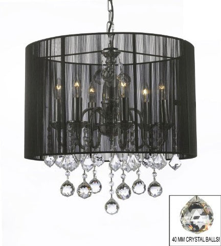 "Crystal Chandelier With Large Black Shade & 40Mm Crystal Balls H 19.5"" X W 18.5"" - J10-B6/1124/6"