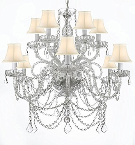 Murano Venetian Style All-Crystal Chandelier With White Shades - A46-Whiteshades/Silver/4/385/6+6