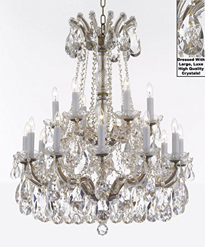"Swarovski Crystal Trimmed Maria Theresa Chandelier Lights Fixture Pendant Ceiling Lamp Dressed With Large Luxe Crystals H30"" X W28"" - Good For Dining Room Foyer Entryway Family Living Room - J10-Cg/B90/26077/18Sw"