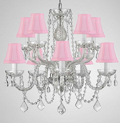 "Empress Crystal (Tm) Chandelier Lighting With Pink Shades H 25"" X W 24"" Swag Plug In-Chandelier W/ 14' Feet Of Hanging Chain And Wire - G46-B15/Pinkshades/Cs/1122/5+5"