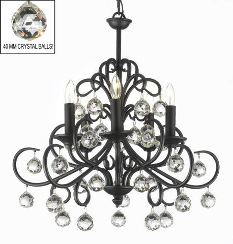 "Bellora Crystal Wrought Iron Chandelier Lighting With Faceted Crystal Balls H 22"" W 20"" - J10-26070/5"