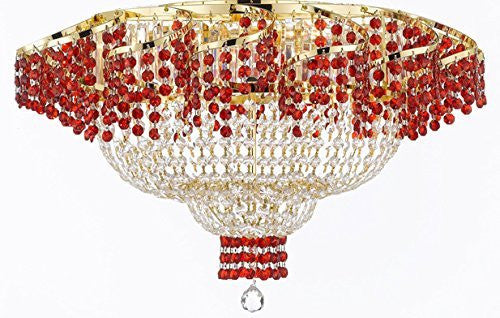 "Moroccan Style French Flush Empire Crystal Chandelier Chandeliers H19.5"" W24"" - Dressed With Ruby Red Crystals Perfect For Dining Room / Entryway / Foyer / Living Room - A93-B75/Flush/Cg/928/9"