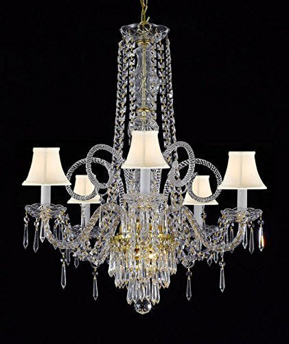"New Crystal Chandelier Murano Venetian Style Chandeliers Lighting 24""X28"" With White Shades - Cjd-Whiteshades/Gold/20048/5"