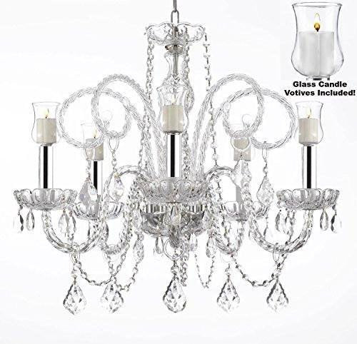 "Crystal Chandelier Lighting Chandeliers W/Candle Votives w/Chrome Sleeves H25"" x W24""- For Indoor/Outdoor Use! Great for Outdoor Events, Hang from Trees/Gazebo/Pergola/Porch/Patio/Tent ! - A46-B43/B31/385/5"