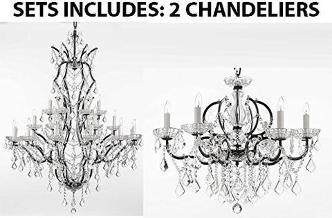 "Set Of 2 - 1 19Th C. Rococo Iron & Crystal Chandelier Lighting H 52"" X W 41"" And 1 19Th C. Rococo Iron & Crystal Chandelier Lighting Dressed With Empress Crystal (Tm) H 25"" X W 26"" - 1 Ea 996/25 + 1 Ea 994/6"