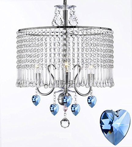 "Contemporary 3-Light Crystal Chandelier Chandeliers Lighting With Crystal Shade And Blue Crystal Hearts W 16"" X H 21"" - G7-B85/1000/3"