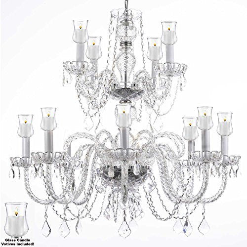 "Crystal Chandelier W/ Candle Votives H.30"" W.28""- For Indoor / Outdoor Use Great For Outdoor Events Hang From Trees / Gazebo / Pergola / Porch / Patio / Tent - J10-B31/26048/8+4"