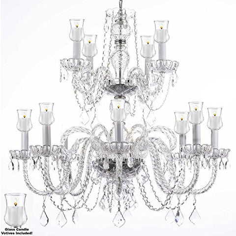 "Crystal Chandelier W/ Candle Votives H.30"" W.28""- For Indoor / Outdoor Use! Great For Outdoor Events, Hang From Trees / Gazebo / Pergola / Porch / Patio / Tent ! - F46-B31/385/8+4"
