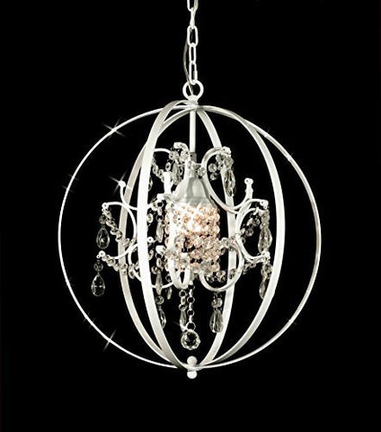 "Foucault'S Orb Crystal Chandelier Lighting H17.5"" W17.5"" - J10-White/B65/592/1"