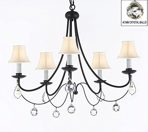 "Empress Crystal (Tm) Wrought Iron Chandelier Lighting H.22.5"" X W.26"" With White Shades And Crystal Balls - J10-Sc/Whiteshades/B7/B6/26031/5"