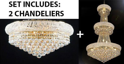 "Set Of 2 - French Empire Crystal Chandelier H50"" X W30"" - Perfect For An Entryway Or Foyer + Flush Empire Crystal Chandelier Lighting 15X24 - 1Ea-A93-541/24+1Ea-F93-Flush/542/15"