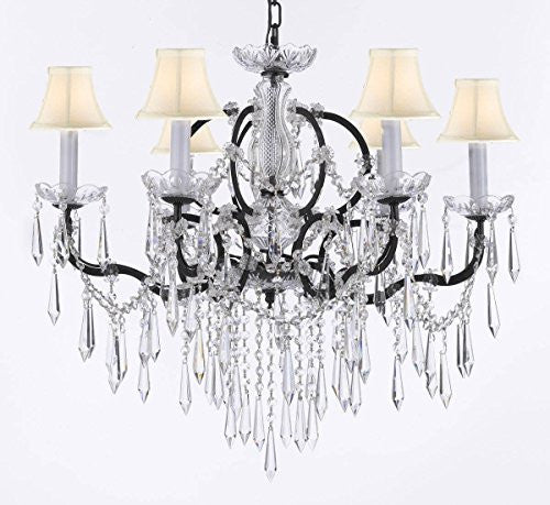 "Nineteenth C. Rococo Iron & Crystal Chandelier Lighting With White Shades H 25"" X W 26"" - G83-Whiteshades/B27/994/6"