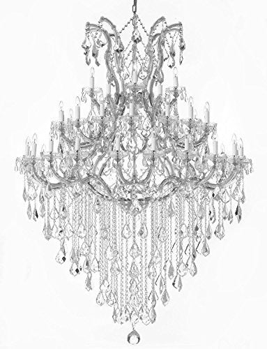 "Large Foyer / Entryway Maria Theresa Crystal Chandelier Lighting H 72"" W 52"" Trimmed With Spectra (Tm) Crystal - Reliable Crystal Quality By Swarovski - Gb104-Silver/B13/2756/36+1Sw"