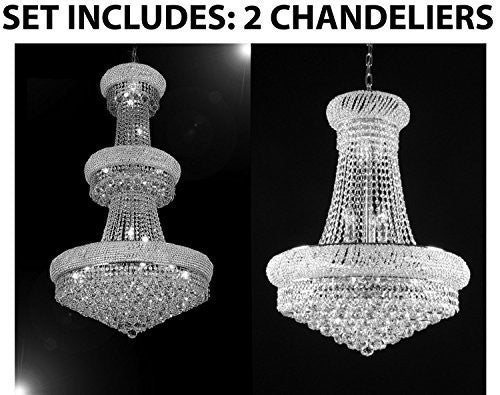 Set Of 2 - 1 For Entryway/Foyer And 1 For Dining Room! French Empire Empress Crystal (Tm) Chandeliers Chandelier Lighting - 1Ea Cs/541/24 + 1Ea Cs/542/15