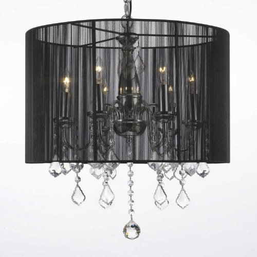 "Crystal Chandelier With Large Black Shade H19.5"" X W18.5"" - F7-1124/6"