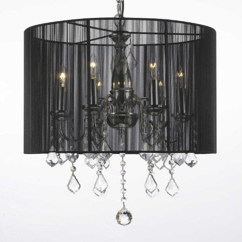 "Crystal Chandelier With Large Black Shade H19.5"" X W18.5"" - J10-1124/6"