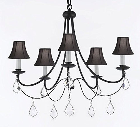 "Empress Crystal (Tm) Wrought Iron Chandelier Lighting H.22.5"" X W.26"" With Black Shades Swag Plug In-Chandelier W/ 14' Feet Of Hanging Chain And Wire - J10-B16/Sc/Blackshades/B7/26031/5"