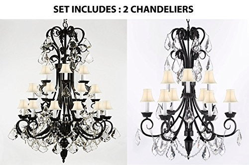 "Set Of 2 - 1-Wrought Iron Chandelier 50"" Inches Tall With Crystal And With White Shades H50"" X W30"" And Empress Crystal (Tm) Chandelier 30"" Inches Tall With Crystal And White Shades H 30"" X W 26"" - 1Ea-B12/724/24+1Ea-B12/724/6+3-Whtshd"