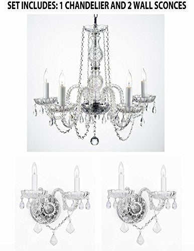 Three Piece Lighting Set - New Authentic All Crystal Murano Venetian Style Empress Crystal Chandelier And 2 Wall Sconces - 1Ea 384/5 + 2Ea 2/386