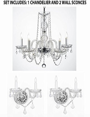 Three Piece Lighting Set - New! Authentic All Crystal Murano Venetian Style Empress Crystal Chandelier And 2 Wall Sconces - 1Ea 384/5 + 2Ea 2/386