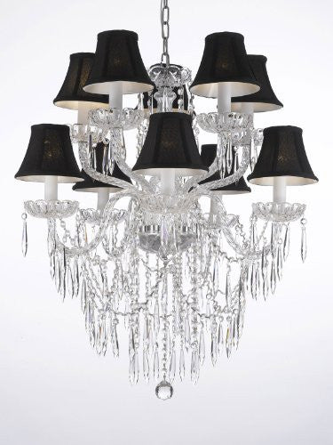 "Crystal Icicle Waterfall Chandelier Lighting Dining Room Chandeliers H 30"" W 24"" With Black Shades - G46-Blackshades/B27/1122/5+5"