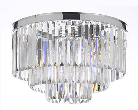 "Palladium Empress Crystal (Tm) Glass Fringe 3-Tier Chandelier Lighting Chrome Finish H 17.5"" W 19.75 - G7-Flush/2164/9"