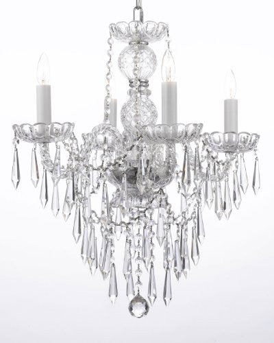 "New Authentic All Crystal Chandelier Lighting W/ Crystal Icicles H22"" X W17"" - G46-B27/3/275/4"
