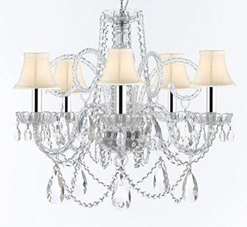 "Murano Venetian Style Chandelier Crystal Lights Fixture Pendant Ceiling Lamp for Dining Room, Bedroom, Living Room with Large, Luxe, Diamond Cut Crystals w/Chrome Sleeves! H25"" X W24"" w/White Shades - A46-B43/WHITESHADES/B93/B89/385/5DC"