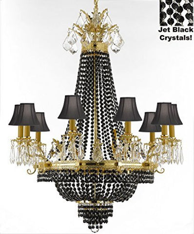 "French Empire Crystal Chandelier Chandeliers H40"" W30"" - Dressed With Jet Black Crystals And Black Shades Perfect For Dining Room / Entryway / Foyer / Living Room - F93-B80/Blackshade/1280/10+5"