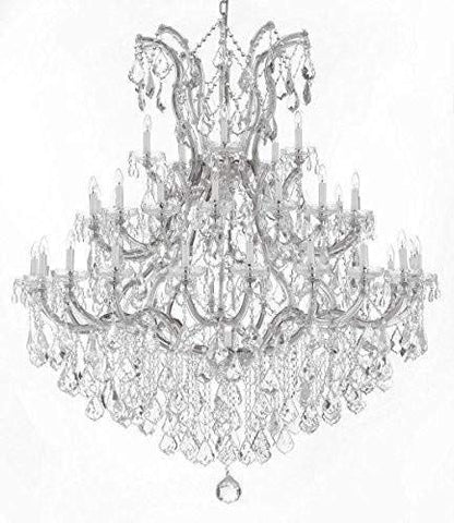 "Large Foyer/Entryway Maria Theresa Empress Crystal (tm) Chandelier Chandeliers Lighting! H 60"" W 52"" Dressed with Diamond Cut Crystal! - GB104-SILVER/B12/2756/36+1-DC"