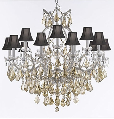 "Maria Theresa Chandelier Crystal Lighting H38"" X W37"" W/ Golden Teak Crystal With Black Shades - A83-Sc/B2/Goldenteak/Silver/21510/15+1"