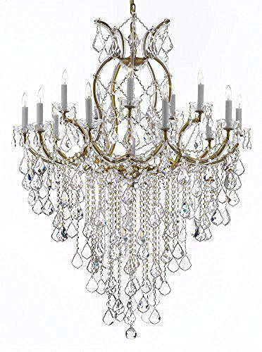 "Maria Theresa Chandelier Crystal Lighting Chandeliers H 50"" W 37"" Great For Large Foyer / Entryway Trimmed With Spectra (Tm) Crystal - Reliable Crystal Quality By Swarovski - A83-B12/21510/15+1Sw"