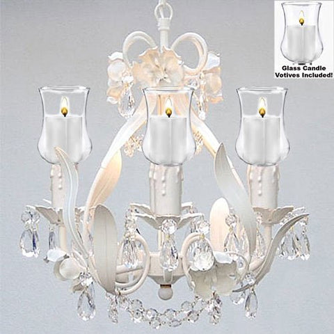"Empress Crystal (Tm) Flower Chandelier W/ Candle Votives- For Indoor / Outdoor Use! Great For Outdoor Events, Hang From Trees / Gazebo / Pergola / Porch / Patio! H15"" W11"" - A7-B31/White/326/4"