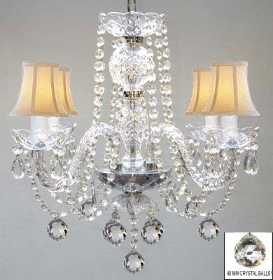 Murano Venetian Style All Crystal Chandelier W/ Crystal Balls And White Shades! - A46-B6/Whiteshades/275/4