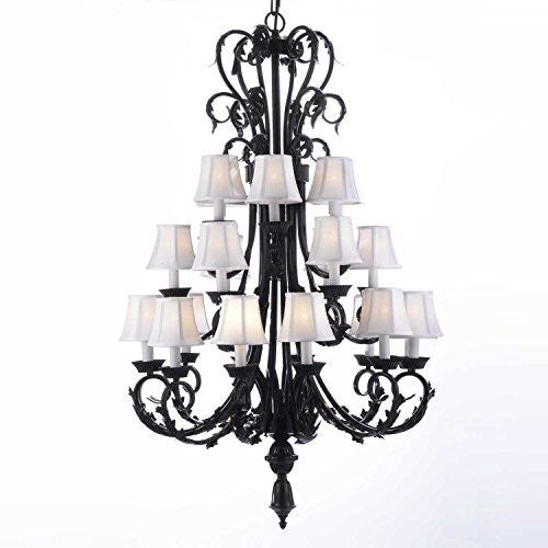 "Large Foyer Entryway Wrought Iron Chandelier H50"" X W30"" W/ White Shades - A84-Whiteshades/724/24"