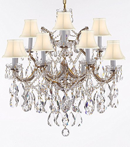 "Maria Theresa Chandelier Lights Fixture Pendant Ceiling Lamp Dressed With Large Luxe Diamond Cut Crystals H30"" X W28"" - Good For Dining Room Foyer Entryway Living Room And More W/White Shades - F83-B90/Whiteshades/Cg/21532/12+1Dc"