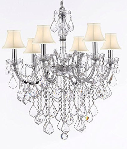 "Maria Theresa Chandelier Lighting Crystal Chandeliers H30 ""X W22"" Chrome Finish With White Shade Trimmed With Spectratm Crystal - Reliable Crystal Quality By Swarovski - F83-Sc/Whiteshade/B12/Chrome/2528/6Sw"