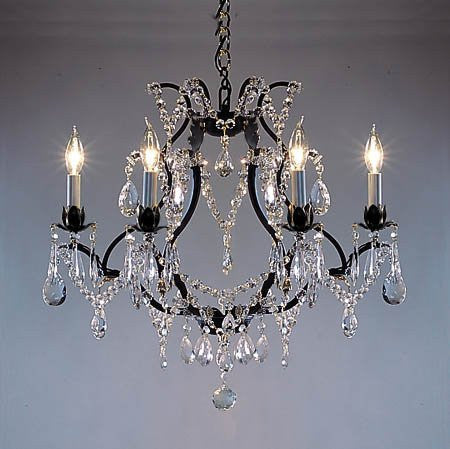 "Wrought Iron Crystal Chandelier Lighting H18"" X W19"" - Go-A83-3030/6"