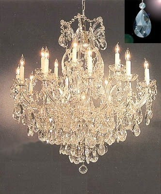 "Maria Theresa Crystal Chandelier Lighting Chandeliers Dressed with  Diamond Cut Crystal! H 38"" W 37"" - Finish: Matte Silver - A83-B71/SILVER/21510/15+1"
