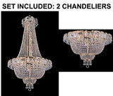 "Set of 2-1 French Empire Crystal Gold Chandelier Lighting - Great for The Dining Room, Foyer, Entry Way, Living Room - H50"" X W24"" and 1 Flush French Empire Crystal Chandelier Lighting 19.5"" X 24"" - 1EA C7/928/9 + 1EA FLUSH/CG/928/9"