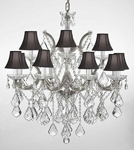 "Chandelier Lighting Crystal Chandeliers With Black Shades H30 ""X W28"" - F83-Blackshades/Silver/B7/21532/12+1"