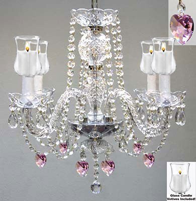 "Crystal Chandelier W/ Candle Votives H17"" W17"" - For Indoor / Outdoor Use! Great For Outdoor Events, Hang From Trees / Gazebo / Pergola / Porch / Patio / Tent ! - G46-B31/B21/275/4"