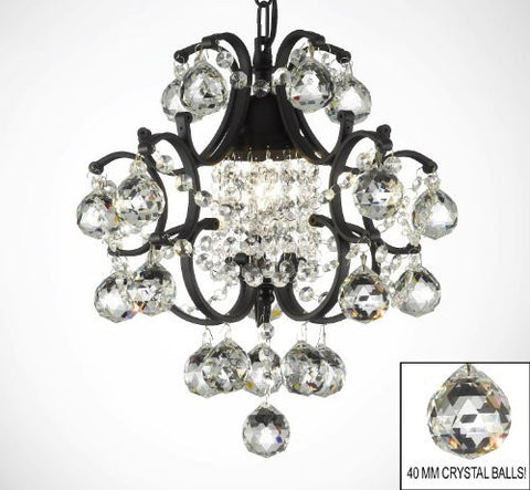 Wrought Iron Mini Crystal Chandelier Lighting W/ Crystal Balls - A7-B6/592/1