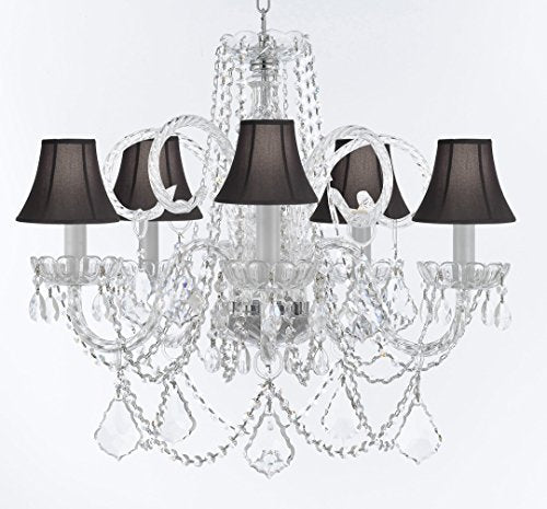 "Swarovski Crystal Trimmed Murano Venetian Style Chandelier Crystal Lights Fixture Pendant Ceiling Lamp for Dining Room, Bedroom, Entryway - W/Large, Luxe Crystals! H25"" X W24"" w/ Black Shades - A46-CS/BLACKSHADES/B94/B89/385/5SW"