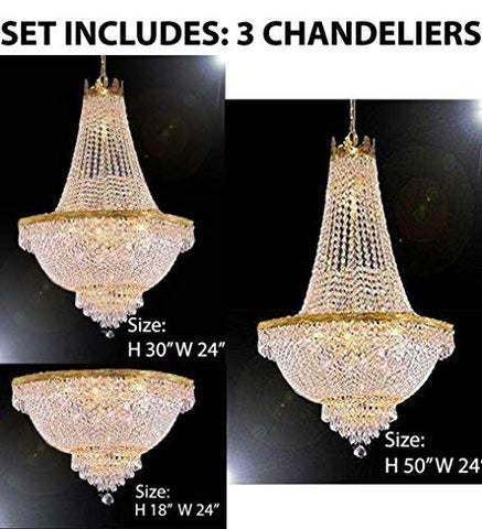 Set of 3-1 French Empire Crystal Chandelier Lighting H50 X W24 & 1 French Empire Crystal Chandelier Lighting H30 X W24 & 1 French Empire Crystal Semi Flush Chandelier Chandeliers Lighting H18 X W24 - 1EA C7/CG/870/9+1EA 870/9+1EAFLUSH/870/9