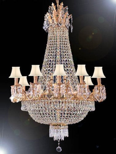 "Swarovski Crystal Trimmed Chandelier Empire Chandelier Lighting H 40"" W 30"" With White Shades - A81-Sc/Whiteshade/1280/10+5Sw"