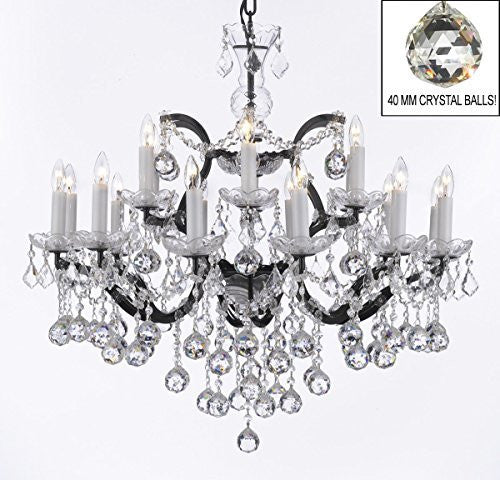 "Nineteenth C. Rococo Iron & Empress Crystal(Tm) Chandelier Lighting H 28"" X W 30"" - G83-B6/995/18"