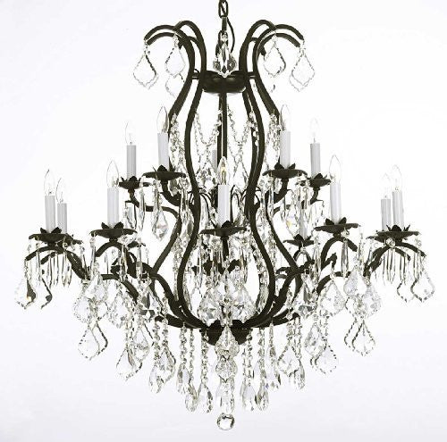 Swarovski Crystal Trimmed Chandelier Wrought Iron Chandelier Dressed With Swarovski Crystal - A83-3034/10+5Sw