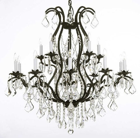 "Wrought Iron Chandelier Crystal Chandeliers Lighting H36"" X W36"" - A83-3034/10+5"