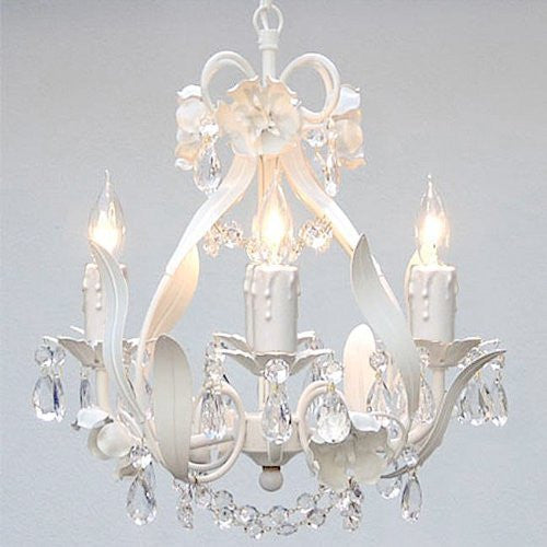 "Swarovski Crystal Trimmed Chandelier Wrought Iron Floral Chandelier Crystal Flower Chandeliers Lighting H15"" X W11"" - J10-White/Cl/26027/4Sw"